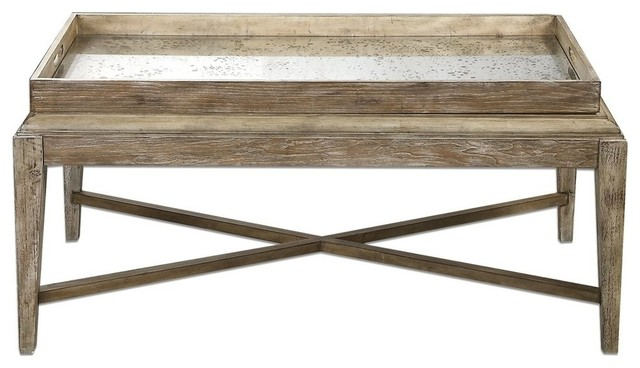 Cottage Weathered Wood Coffee Table Beach Style Coffee Tables By My Swanky Home