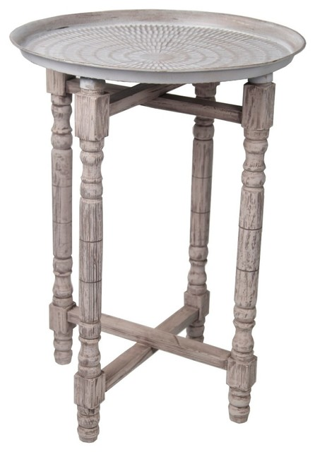 Zeckos antique finish metal and wood bohemian accent table for Wood and metal bedside table
