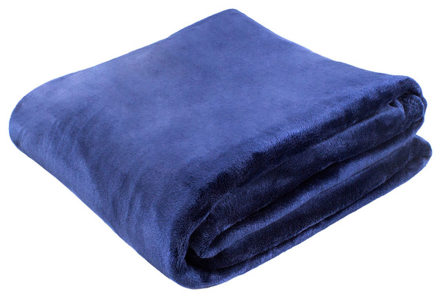 Solid Super Soft Plush Oversized Throw, Navy, Solid.