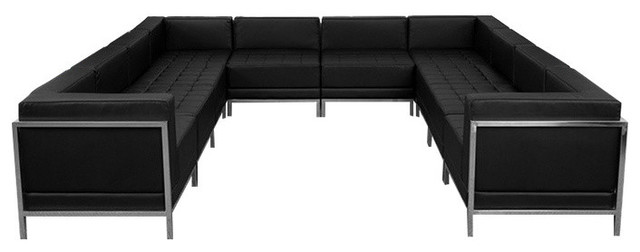 Hercules Imagination Series Black Leather U Shape Sectional 10 Pieces