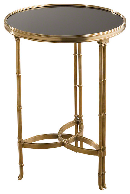 Global Views Double Bamboo Leg Accent Table, Brass And Black Granite  Transitional Side