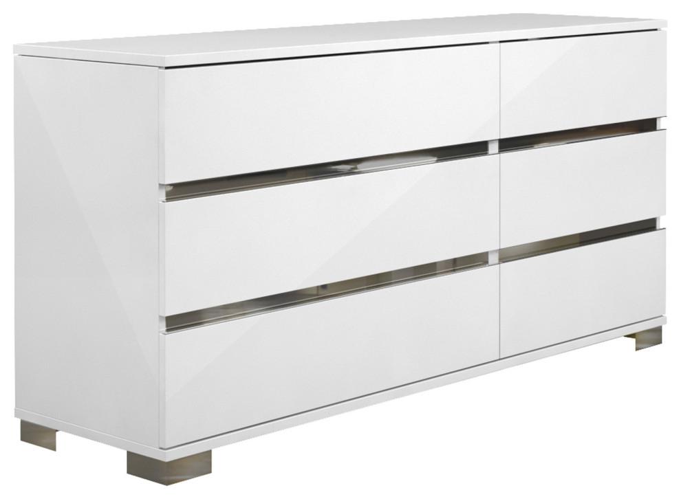 Dream White 6 Drawer Double Dresser