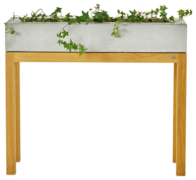 G.A.D   G.A.D Lau Concrete Planter With Oak Legs   Plant Stands And  Telephone Tables