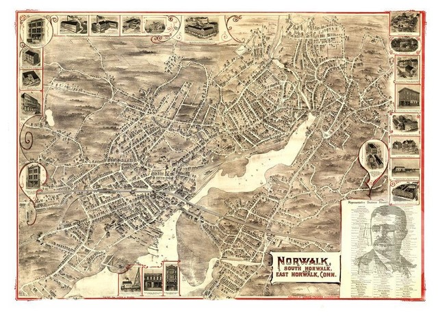 Victorian Industrial CT Map 1883 Historic Connecticut Art Vintage Stamford