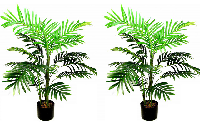3 Feet Artificial Paradise Palm Tree Plant In Plastic Pot Green Set Of 2