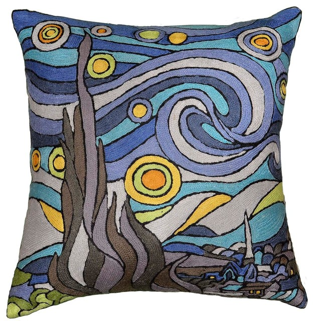 """The Starry Night Inspired Van Gogh Throw Pillow Cover Hand-Embroidered, 18""""x18""""."""