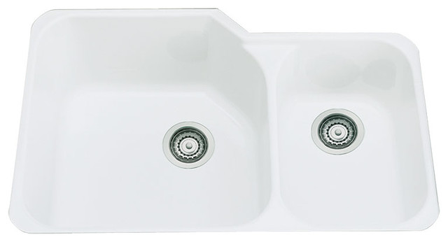 Rohl 33in Double Basin Undermount Fireclay Kitchen Sink, White.