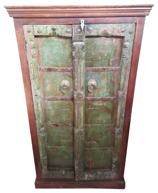 Consigned Antique Vintage Armoire Cabinet Cupboard Indian Hand Carved  Furniture - Consigned Antique Vintage Armoire Cabinet Cupboard Indian Hand