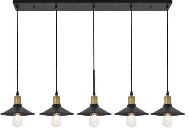 "Elegant Lighting LD4033D49 Etude 5 Light 49""W Linear Pendant - Black"
