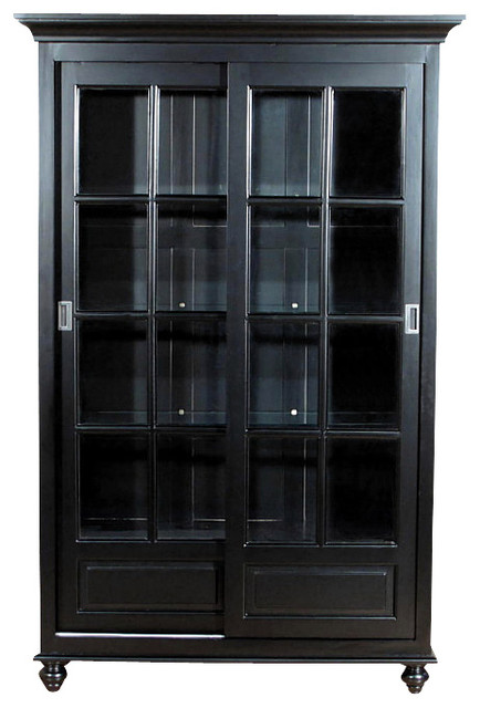 Black Curio China Display Cabinet - Traditional - China Cabinets And Hutches - by MBW Furniture