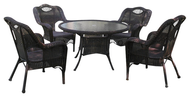 Mirabel Wicker Outdoor Dining Table And Chairs, Smoke Gray, 5-Piece Set.