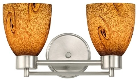 Art Glass Vanity Light : Satin Nickel Modern Bathroom Light With Brown Art Glass - Bathroom Vanity Lighting - by ...