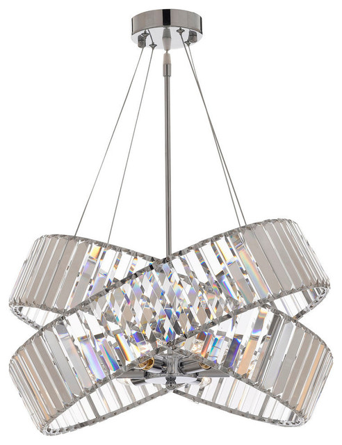 Crystal Ribbon Chandelier Modern Contemporary Lighting Pendant 20 Wide
