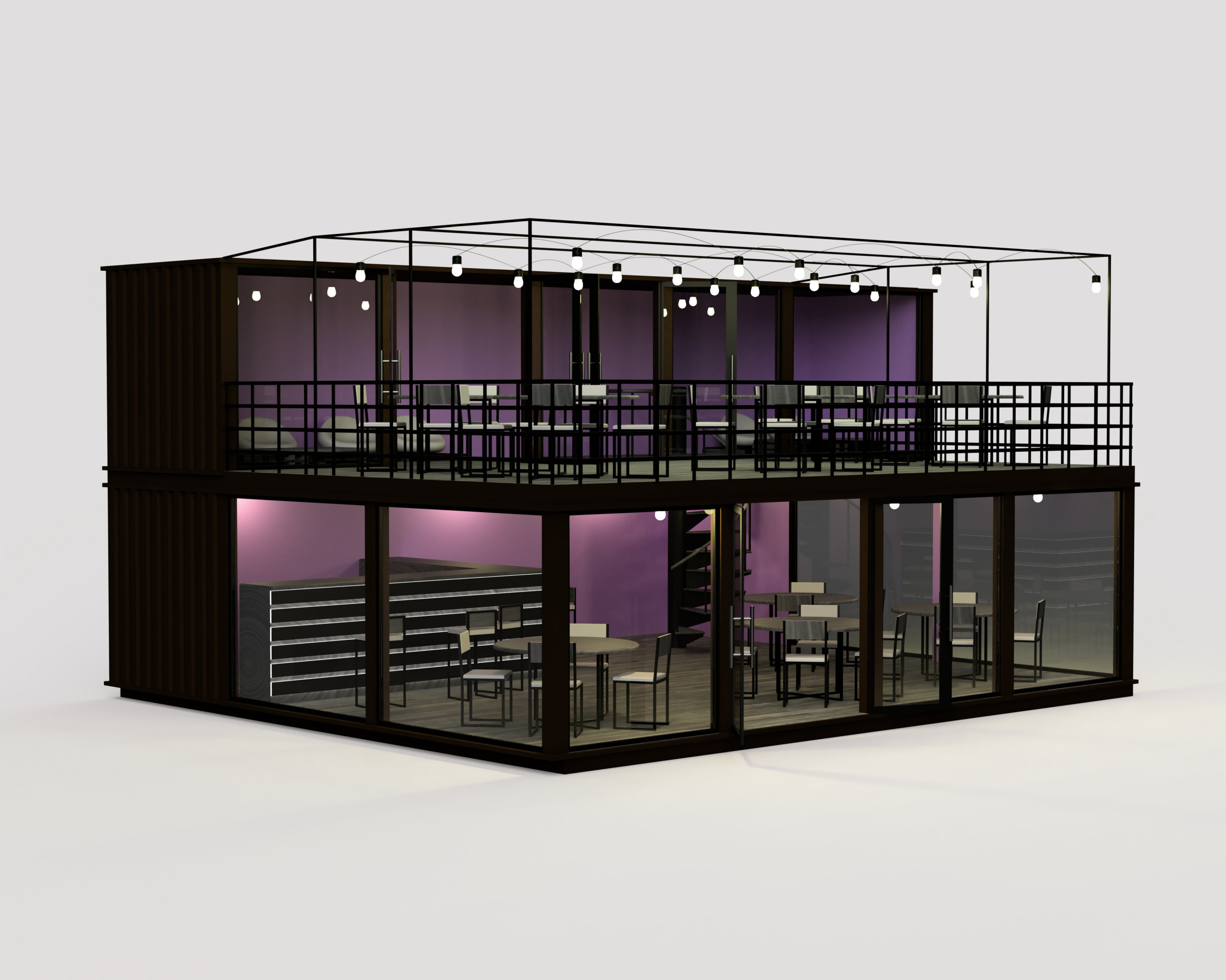 Container coffee shop and social lounge