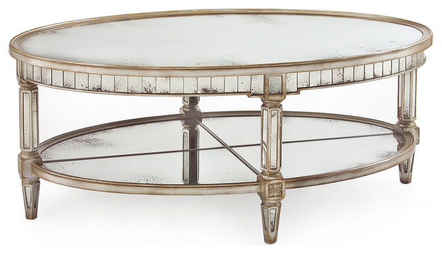 Kendrick Hollywood Regency Silver Antique Mirror Coffee Table