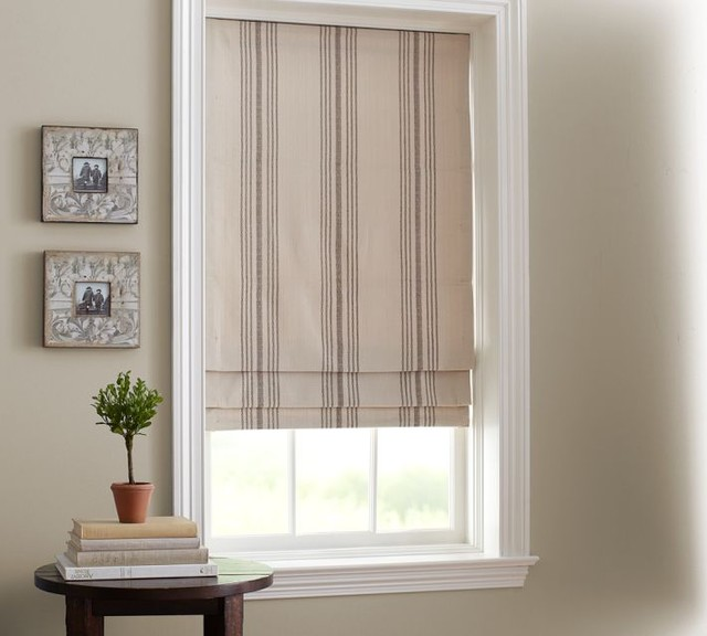 French Stripe Cordless Roman Shade Traditional Roman
