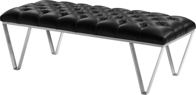 Serene Tufted Bench, Black Faux Leather.