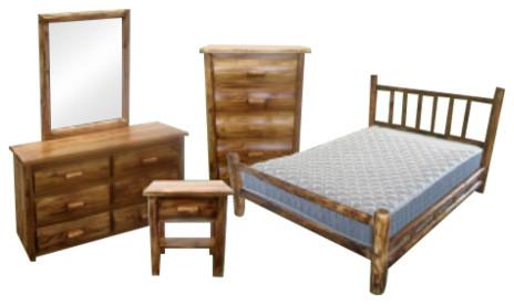 Northern Torched Cedar 5 Piece Log Bedroom Set Queen
