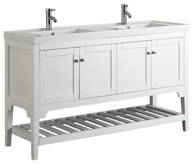 "Aquamoon Rimini 59 3/4"" Double Sink Bathroom Vanity Set - Transitional - Bathroom Vanities And Sink Consoles - by Aquamoon"