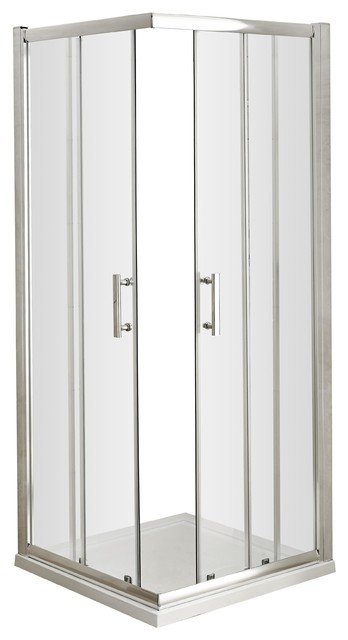 Pacific Corner Entry Shower Door, Polished Chrome, 760 mm