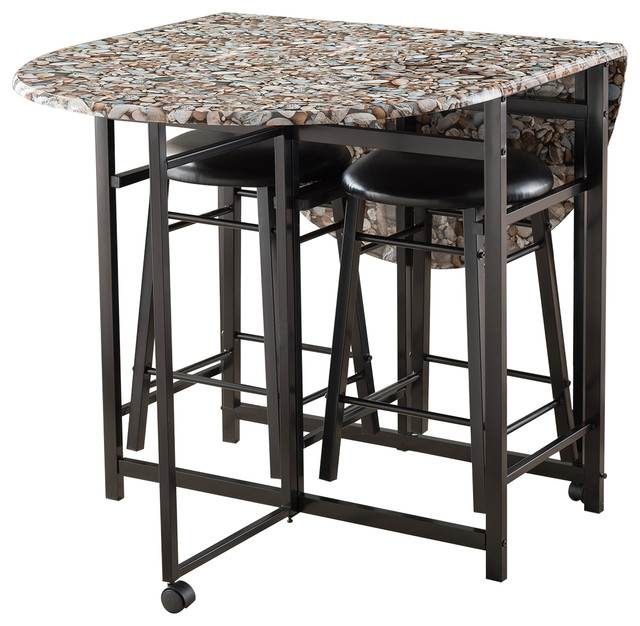 Stylecraft Barclay Brass 3 Piece Living Room Accent Table: Spiky 3-Piece Folding Pub Set With Cobblestone Table & 2