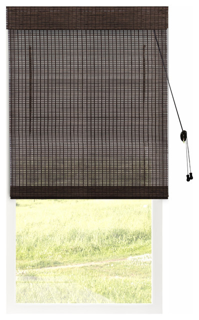 "Bamboo Roman Shades, Natural Woven Wood Privacy, Treehouse, 34""x64""."
