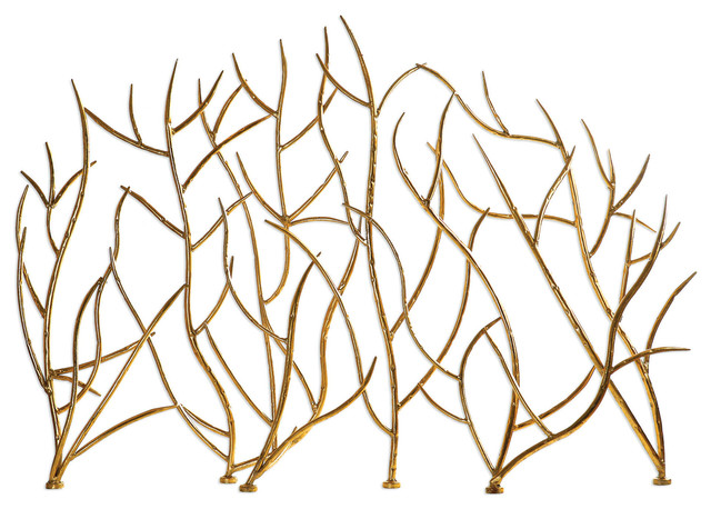 Gold Branches Decorative Fireplace Screen.