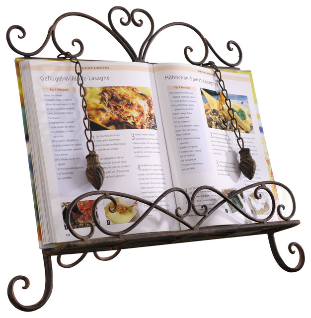 Antique Metal Cookbook Stand Book Holder Easel Weighted