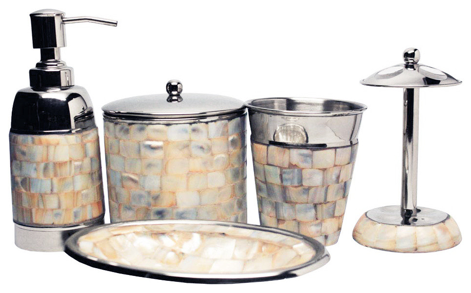Mother Of Pearl 5 Piece Bathroom Accessory Set Beach Style Bathroom Accessory Sets By Amber Sporting Goods Inc Amber Home Goods