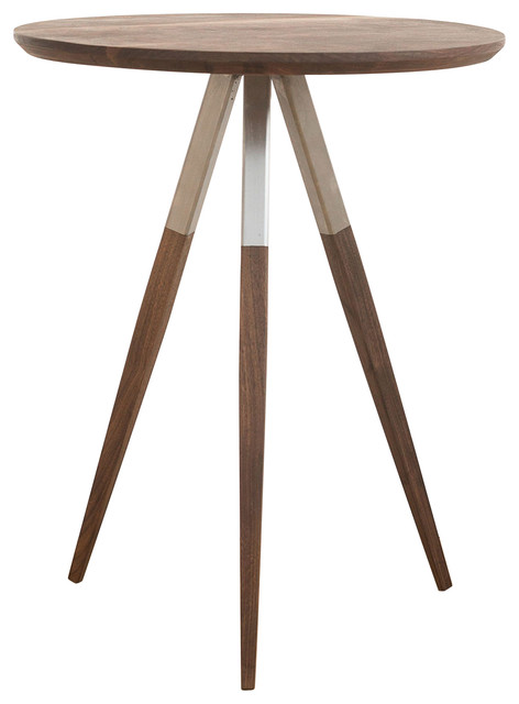 Scully Round End Table, Walnut White