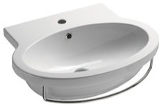 Oval Shaped Wall Mounted Ceramic Sink, One Faucet Hole.