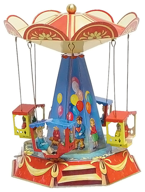 Old Time Toys And Games : German collectible tin toy old fashioned carousel quot hx