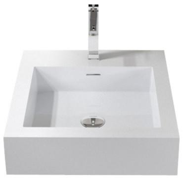 badeloft stone resin wall mounted sink matte small - Wall Mount Sink