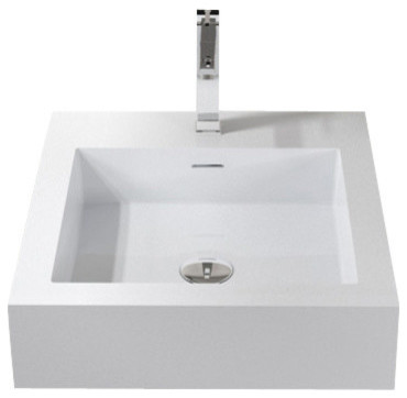 Badeloft Stone Resin Wall Mounted Sink, White Matte, Small Contemporary  Bathroom