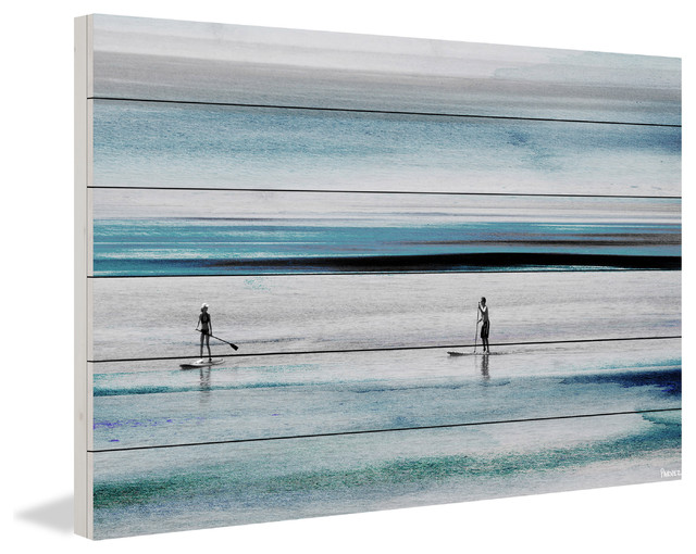 """beach Paddling"" Painting Print On White Wood, 45""x30""."