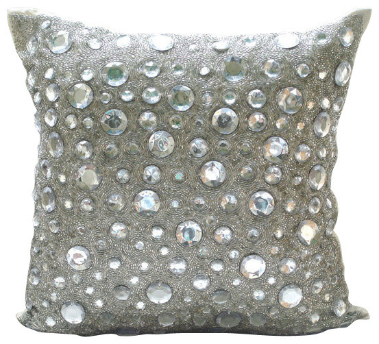 Diamonds Everywhere Silver Art Silk Throw Pillow Covers Modern Enchanting Decorative Pillows With Circles