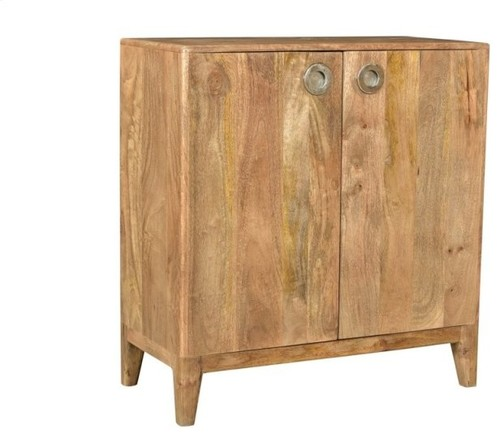 Crestview Bengal Manor Mango Wood Natural 2 Door Mid-Century Cabinet CVFNR692