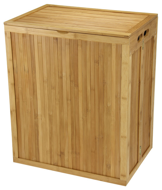 Solid Bamboo Hamper With Lid.