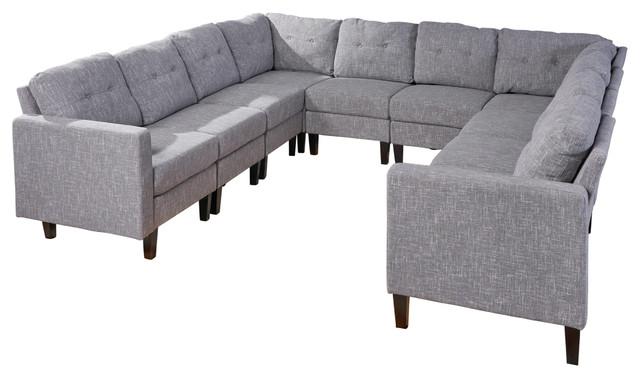 Marsh Mid Century Modern U Shaped Sectional Sofa Set Transitional