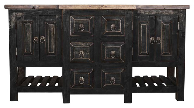 Amazing Robertson Reclaimed Bathroom Vanity, Black, ...