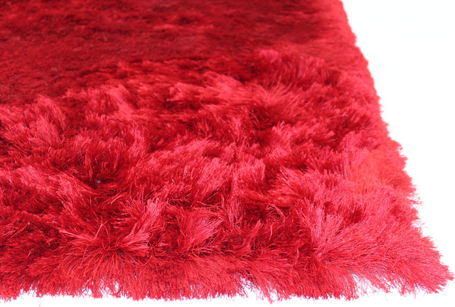 Soft Fluffy Red Shag Area Rug, 8'x10'