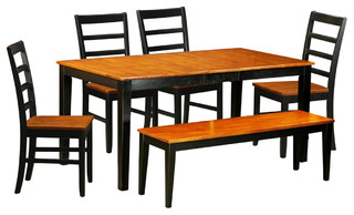 Nicoli 6-Piece Solid Wood Dining Set, Black And Cherry