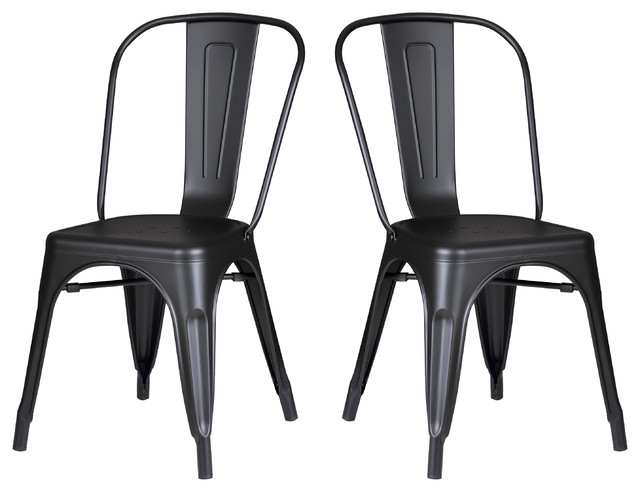 Matte Black Metal Dining Room Kitchen Bar Chair, Set Of 2.