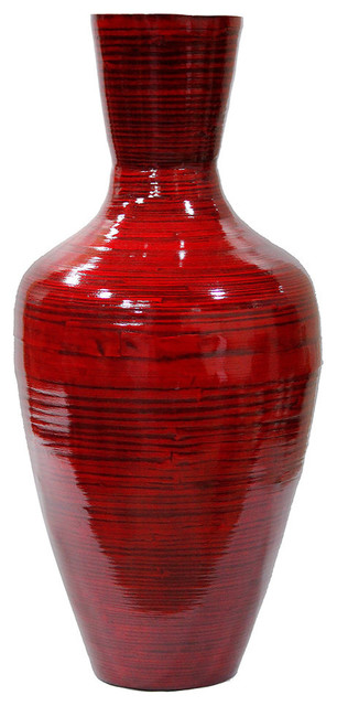 "HomeRoots Decor, 29"" Spun Bamboo Floor Vase, Red Lacquer"