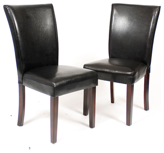 Pau Black Leatherette Parsons Chairs With Cherry Finish Wood Legs Set Of 2 Transitional
