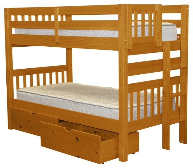 Bedz King Bunk Beds Twin Over Twin, End Ladder And 2 Bed Drawers, Honey.