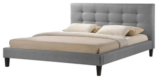 Quincy Gray Linen Platform Bed, King Size