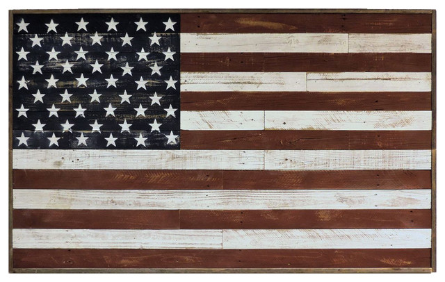 Patriotic Usa Rustic Reclaimed Barnwood American Flag Wall Art 3&x27;x5&x27;.