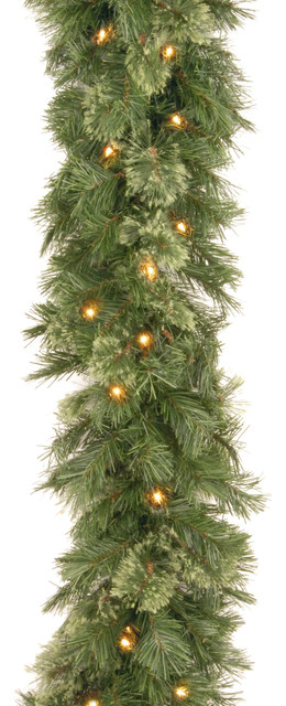 9&x27; Wispy Willow Garland With Clear Lights.