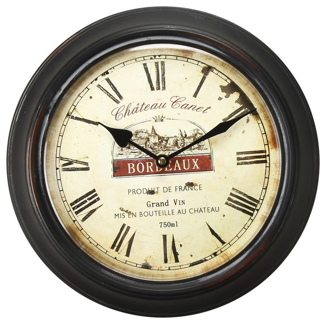 Adeco Black Iron Vintage Inspired Circular Wall Clock
